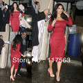 Free shipping kim kardashian red sheath long sleeve tea length lace celebrity dress CD014