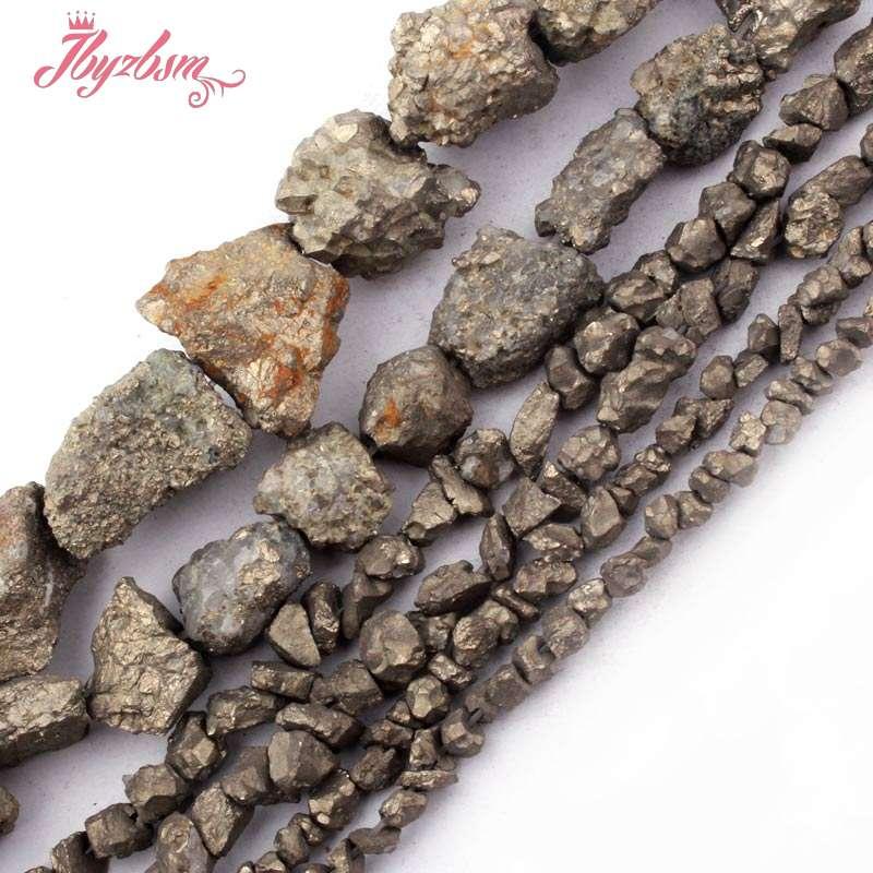 "3-5,4-6,10-15mm Freeform Irregular Shape Pyrite Natural Stone Beads For DIY Necklace Bracelet Jewelry Making 15"" Free Shipping"