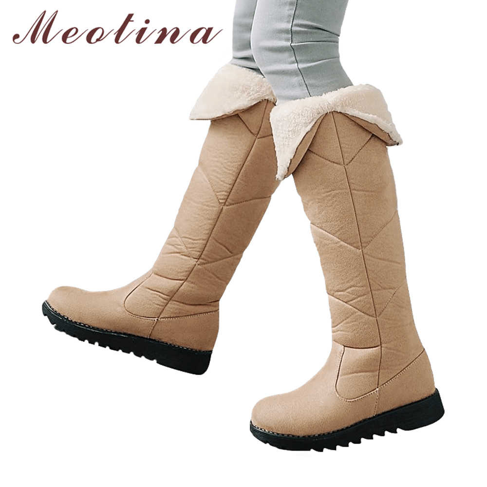 Meotina Diz Çizmeler üzerinde Kadın Düz Platform Kar Botları Kış Ayakkabı Yuvarlak Ayak Peluş Sıcak Tutmak Uzun Çizmeler Yeşil bej 34-43