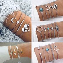 AILEND Vintage Moon Link Ladies Bracelet Bijoux Silver Bracelet Color Adjustable Bracelet Women Bohemian Jewelry(China)