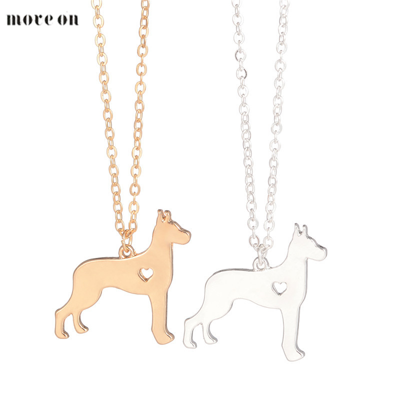 Gold Silver 1pc Great Dane Necklace Large Dog Pendant Jewelry Breed Pet Dog Christmas Gifts Memorial Gift Family Pet For Lovers image