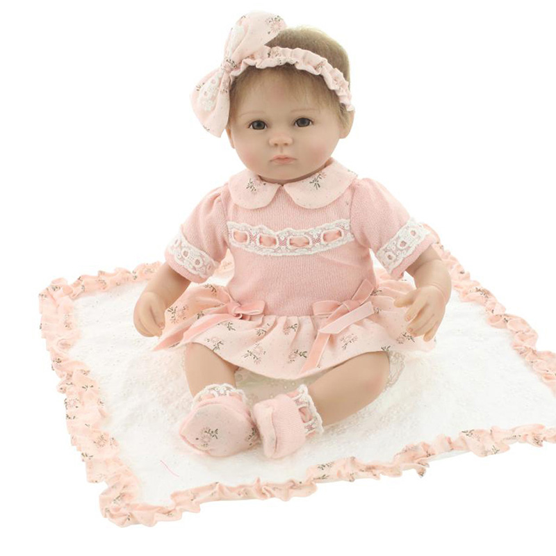 Reborn Doll 18inch soft silicone vinyl lifelike baby real touche realistic newborn toys  pretty girl baby birthday gift friends  цена и фото