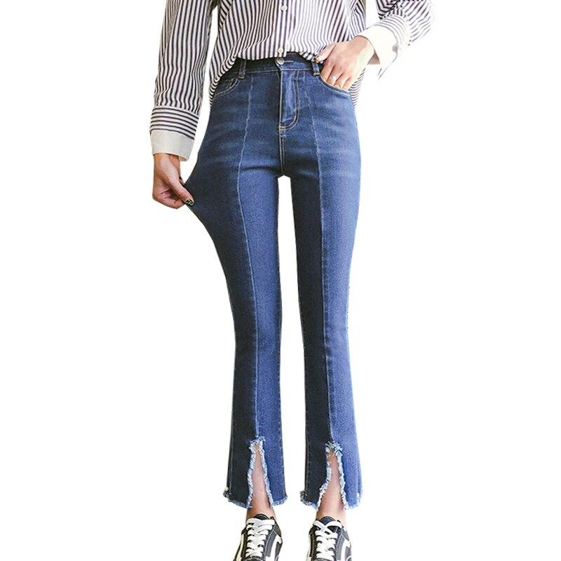 Femmes Mode Détruit Déchiré Perlés Mince pantalon Denim Brodé Fusées Jeans Pantalon Denim Trou Jeans grande taille 5XL