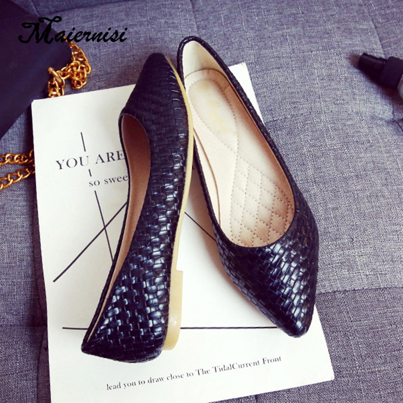 MAIERNISI Plus Size 33-43 Fashion Flats Black Knitting Flats For Women's Daily OL Office Shoes Summer Fashion Flats Lady