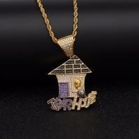 Full Zircon Rhinestones Multi Color Bling Trap House Patchwork Necklaces Hip Hop Jewelry Chains Men Women Colorful Gold Pendants