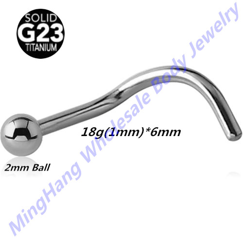 High Polished G23 Titanium 18 Gauge Nose Screw Ring Nose Stud