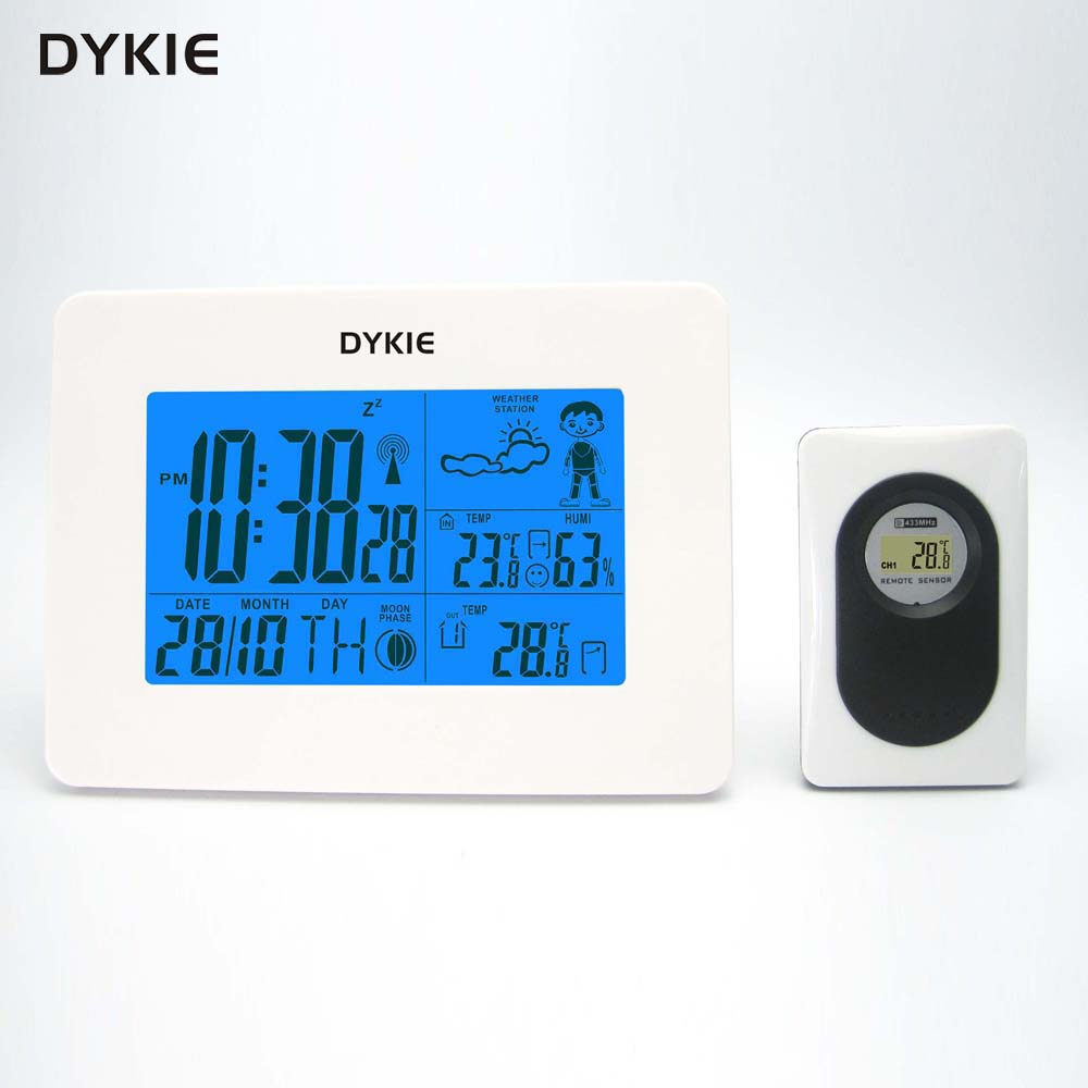 RCC Weather Station with Digital Clock  Indoor Outdoor Temperature Humidity Monitor Remote Transmitter for Office Home DYKIERCC Weather Station with Digital Clock  Indoor Outdoor Temperature Humidity Monitor Remote Transmitter for Office Home DYKIE