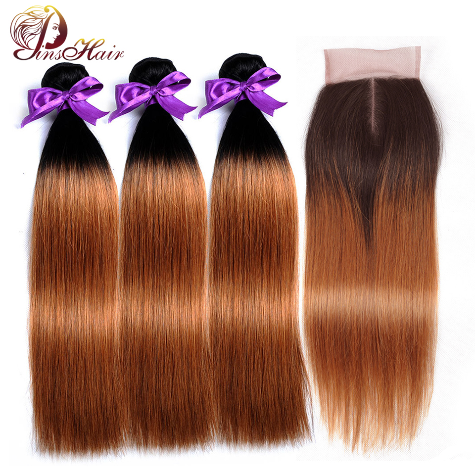 Pinshair Ombre Blonde Peruvian Straight Hair <font><b>Bundles</b></font> <font><b>With</b></font> <font><b>Closure</b></font> <font><b>1B</b></font> <font><b>30</b></font> Human Hair Weave <font><b>Bundles</b></font> <font><b>With</b></font> <font><b>Closure</b></font> 10-26 inch Nonremy image