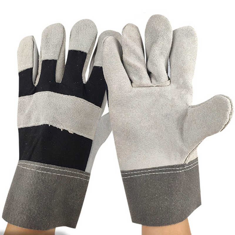 White Cowhide Work Gloves For Driving/Welding/Gardening/Cutting/Construction/Motorcycle, Wear-Resistant, Elastic Wrist,Men&Women