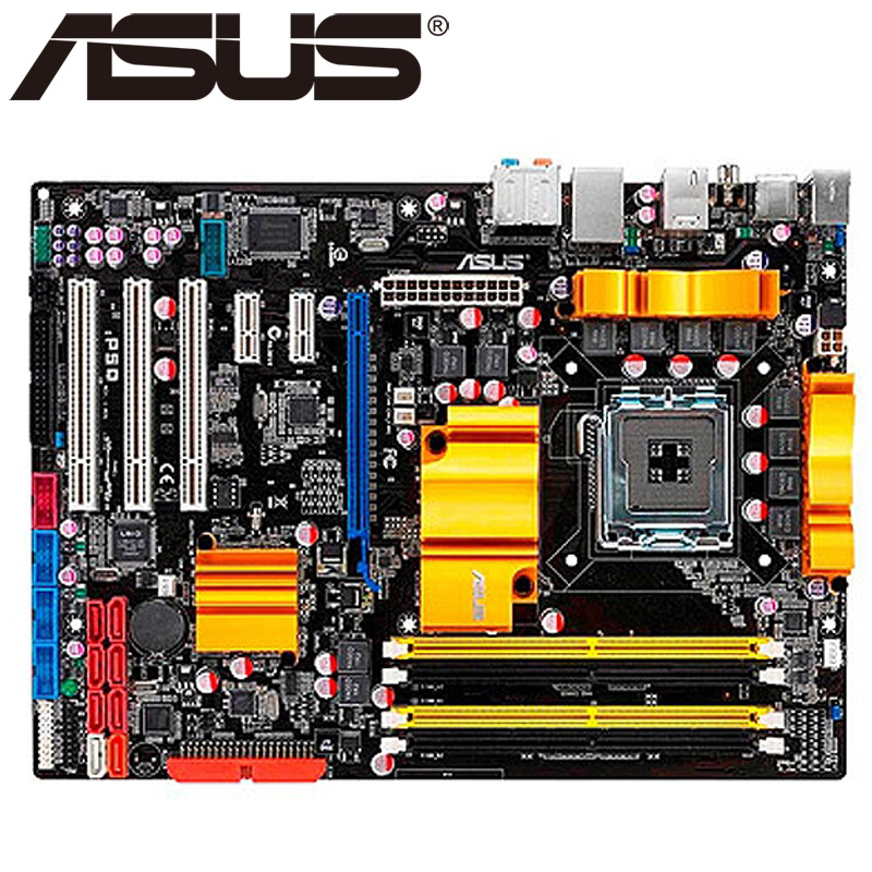 Asus P5Q  Desktop Motherboard P45 Socket LGA 775 For Core 2 Duo Quad DDR2 16G ATX UEFI BIOS Original Used Mainboard On Sale asus p8z77 m desktop motherboard z77 socket lga 1155 i3 i5 i7 ddr3 32g uatx uefi bios original used mainboard on sale