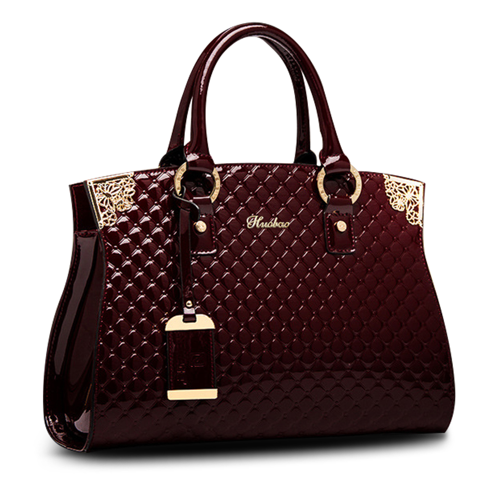 Femmes véritable cuir verni sacs à main de luxe épaule sac à bandoulière sac à main Designer sac à main sacoche Messenger sac dames fourre-tout - 2
