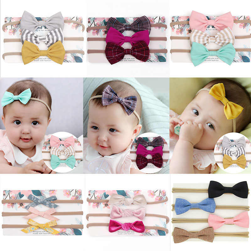 3Pcs/Set Cute Baby Girl Headbands Colorful Newborn Baby Bows Headband Elastic Kids Toddlers Hair Band Baby Girl Hair Accessories