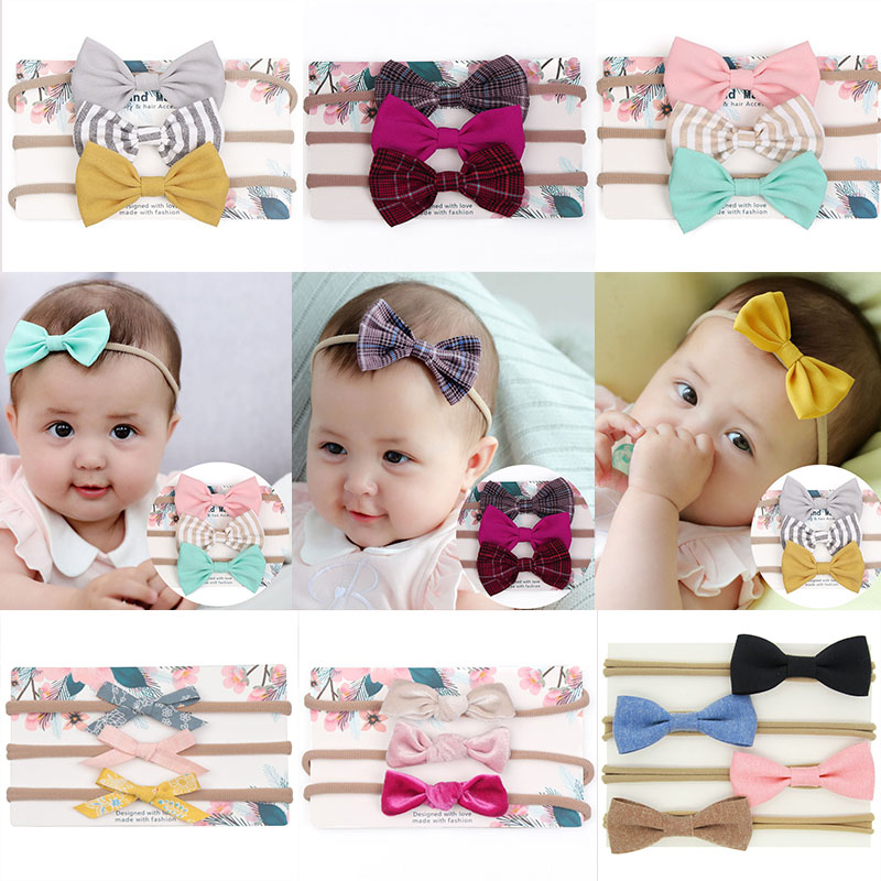 3Pcs Kids Elastic Floral Headband Hair Girls baby Bowknot Hairband Sets LIX