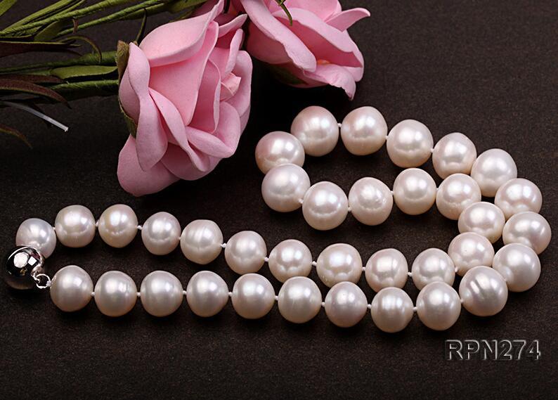 36-43cm 14-17 ''femmes bijoux AAA perle naturelle 10-11mm brillant blanc rond perle d'eau douce aimant fermoir collier cadeau de mode - 2