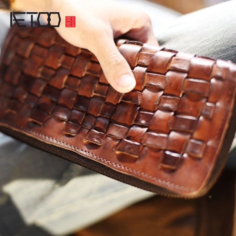 AETOO Retro old wallet hand-woven vertical section long section zipper wallet full leather personality youth Vintage wallet aetoo handmade leather wallet men short section vertical zipper personality men money wallet youth tide male vintage wallet