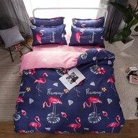Home Textile Bedding Sets Bed Linen Girl Teen Kid Red Flamingo Duvet Quilt Cover Pillow Case Flat Bed Sheet 3/4Pcs bedclothes