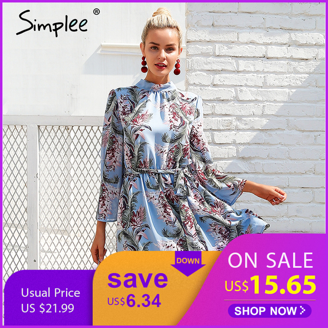 be33aba9f126 Simplee Backless lace up summer dress women Flare sleeve floral print  chiffon dress Beach casual short dress robe femme 2018