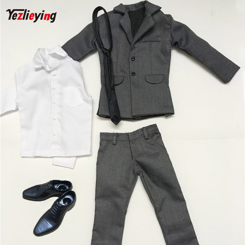 Model Scale 1: 6 Male Gray Set Suit Trousers Clothing Accessories For 12 Phicen Action Figures Men Model Toys Doll