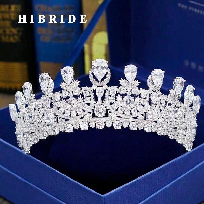 HIBRIDE Luxury New Pageant Headband Tiaras AAA Cubic Zircon Women Hair Accessories For Wedding Gifts C