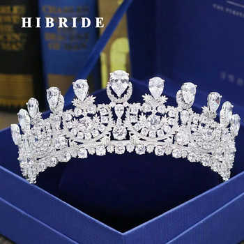 HIBRIDE Luxury New Pageant Headband  Tiaras AAA Cubic Zircon Women Hair Accessories For Wedding Gifts C-30 - DISCOUNT ITEM  20% OFF All Category