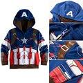 2016 boy chaqueta de los niños niños de la capa de super hero avengers captain america niños prendas de abrigo y chaquetas de ropa para niños gratis