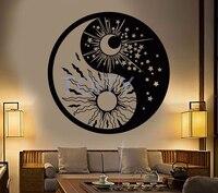 Yin Yan Budismo Símbolo Do Sol Lua Adesivos de Parede Estrelas Dia Yoga Sala Creative Art Mural Decor Vinyl Decal H57cm x W57cm
