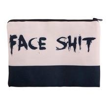 Face Shit 3D Printing square cosmetic bag 2016 Fashion New pouch necessaire toiletry bag organizer maleta de maquiagem bags