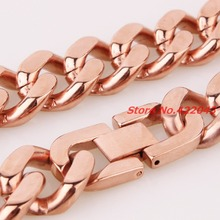 New Fashion 316L Stainless Steel Rose Gold Curb Cuban Chain Necklace Bracelet For Mens Best Gift Jewelry, Rock, Biker, Wholesale