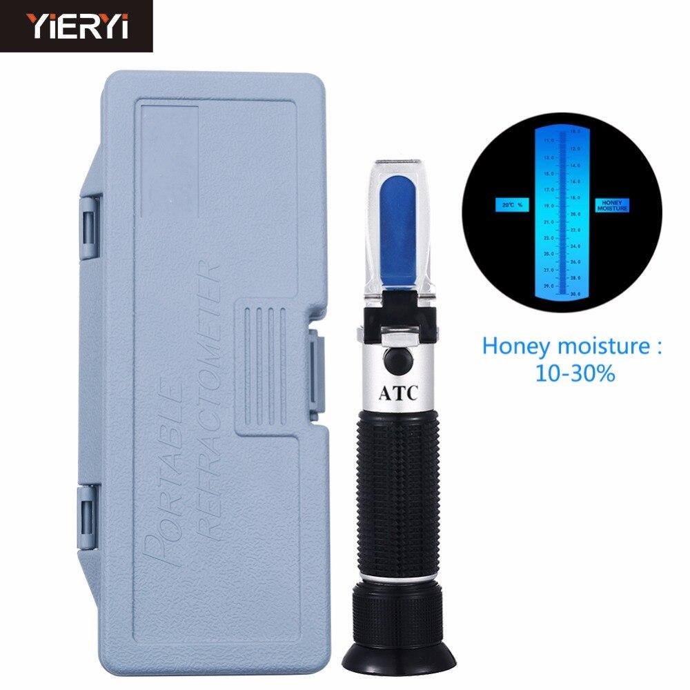 Yieryi mano 10-30% agua cariño Refractómetro con calibración atc refractómetro cariño medidor de humedad en estuche de plástico
