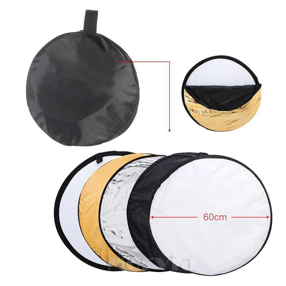 "24 ""60 cm reflector 5 in 1 Inklapbare Light Ronde Fotografie Wit Silivery Reflector voor Studio Multi Photo Disc diffuers"