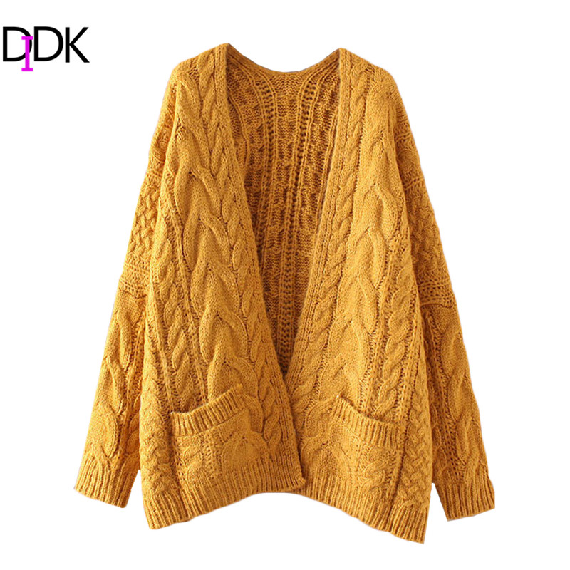 DIDK Female Drop Shoulder Cable Knit Cardigan With Pockets Women ...