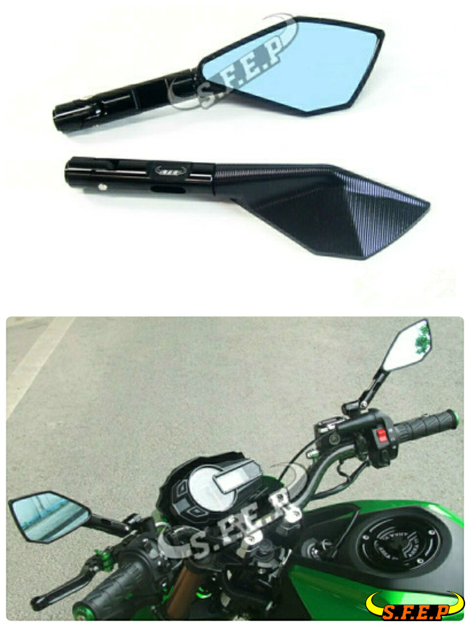 Motorcycle Universal CNC Handle Bar Mirrors For Kawasaki Z125/Z125Pro 2016-2017