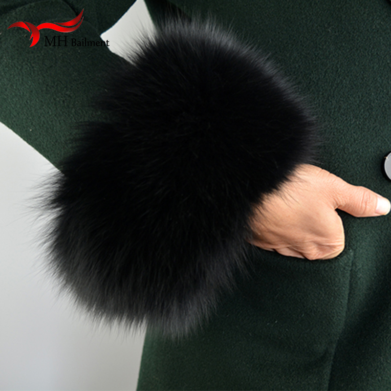 Fox Fur Cuffs 2019 Genuine Fox Fur Cuff Arm Warmer Lady Bracelet Real Fur Wristband Glove S9