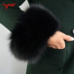 Puños de piel de zorro 2019, brazalete de piel auténtica de zorro, brazalete cálido para mujer, guante de piel auténtica S9