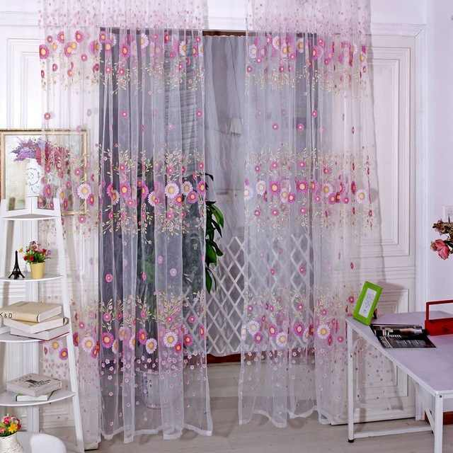 Hot Sale Brand New Curtains Sunflower Printed Voile Door Window Balcony Sheer Screening Curtains Green Pink DarNio