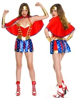 Red Blue Glittering Classic Cosplay Superwoman Suit