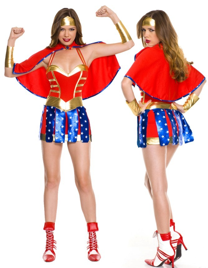Red Blue Glittering Classic Cosplay Superwoman Suit Wonder Woman Cosplay Superhero Superwoman Halloween Costumes