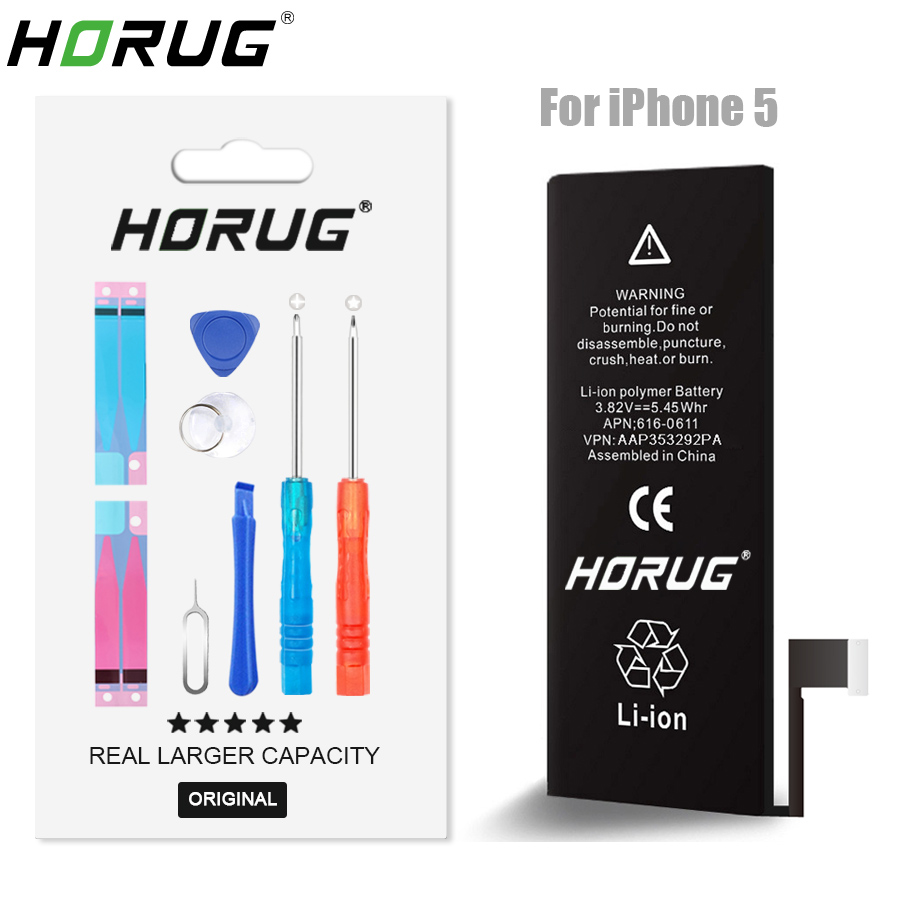 2018 NEW HORUG 100 Original Mobile Phone Battery For IPhone 5 Battery Original Capacity Sticker Replacement