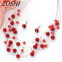 ZOSHI Fashion Jewelry sets Rhinestone Crystal Silver Color Chain Multilayer Chokers Necklaces Earrings Jewellery Set For Women