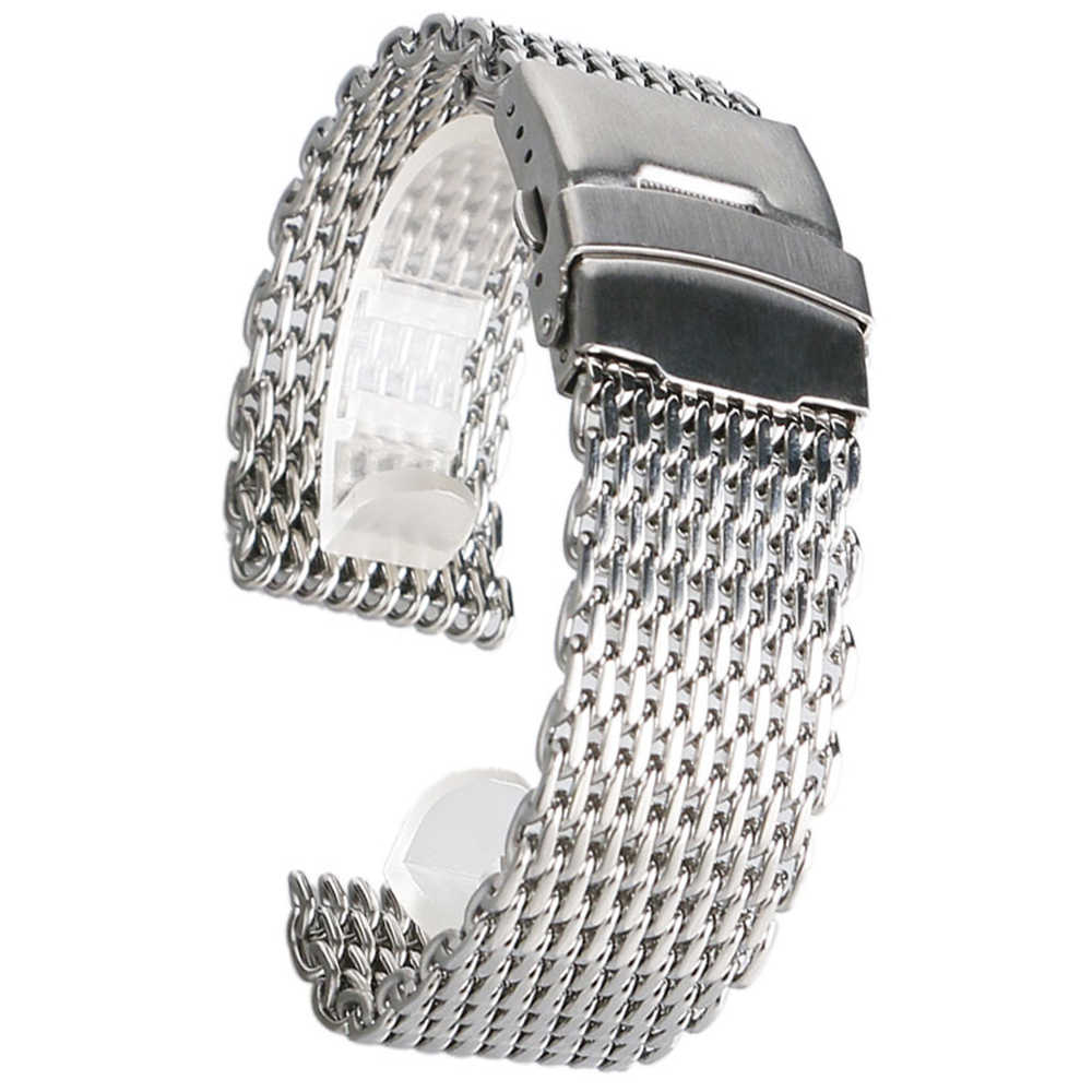 High Quality Stainless Steel Watch Band 18mm 20mm 22mm 24mm Mesh Shark Silver Watch Strap for Women Men Replacement shark mesh