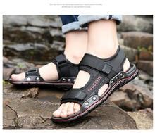 2019 summer casual mesh layer cloth beach men's sandals buckle non-slip flat with open toe Roman sandals flat toe non slip roman beach sandals