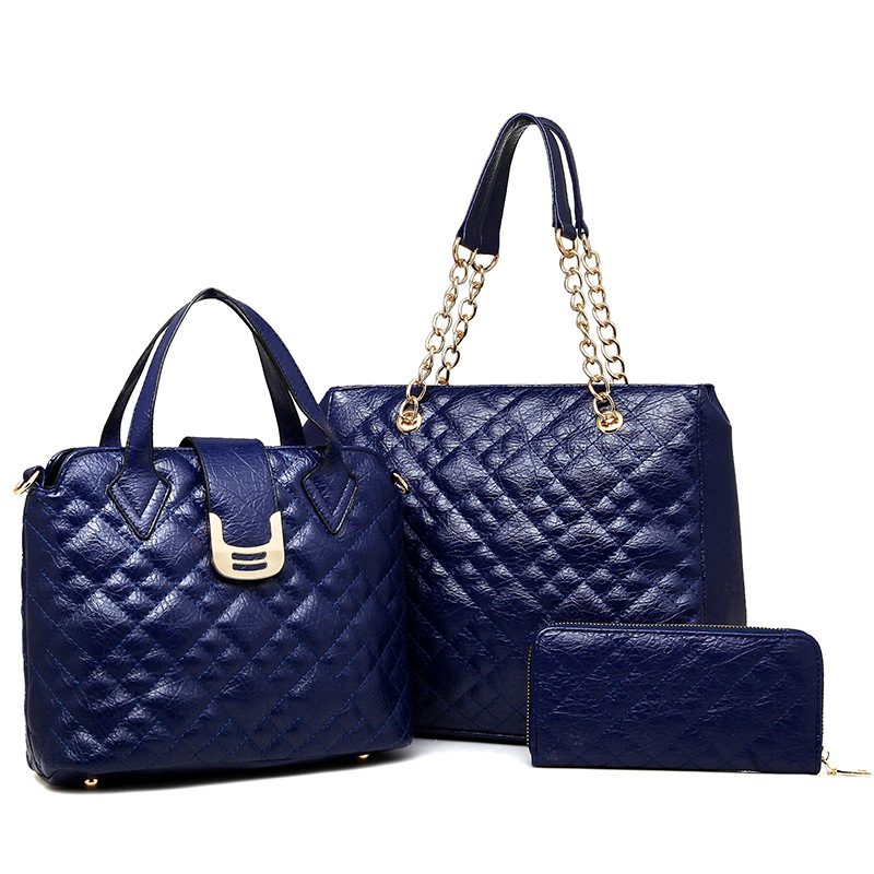 Luxury Women Leather Handbags 2017 Women Diamond Lattice Shoulder Bag Crossbody Composite Bag Messenger Bags Bolsa Feminina