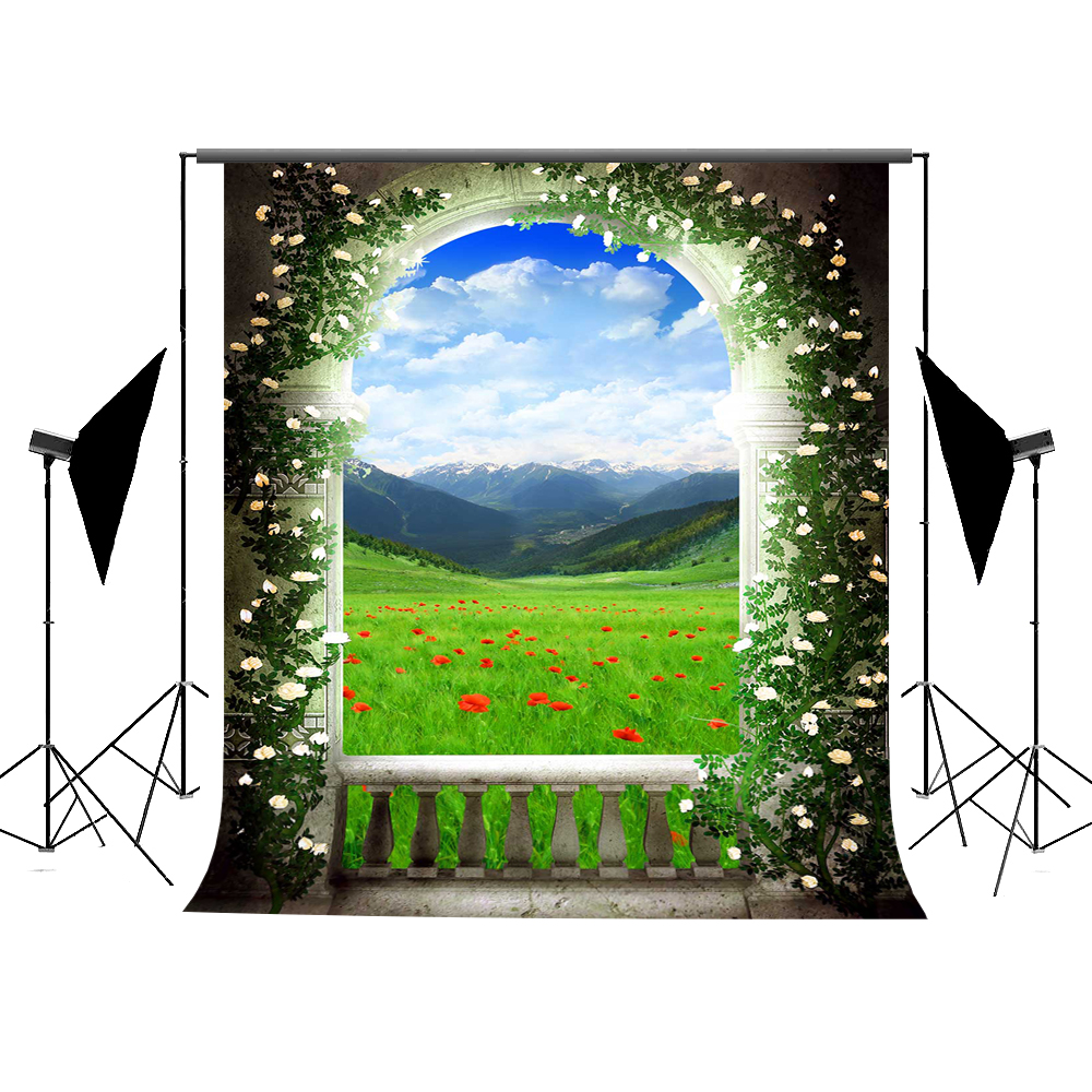 Kate Green Spring Photography Background 10x10ft Arched Door Photo Backgrounds Flower Mountain Scenic Washable Background 10x10ft kate spring scenery photography