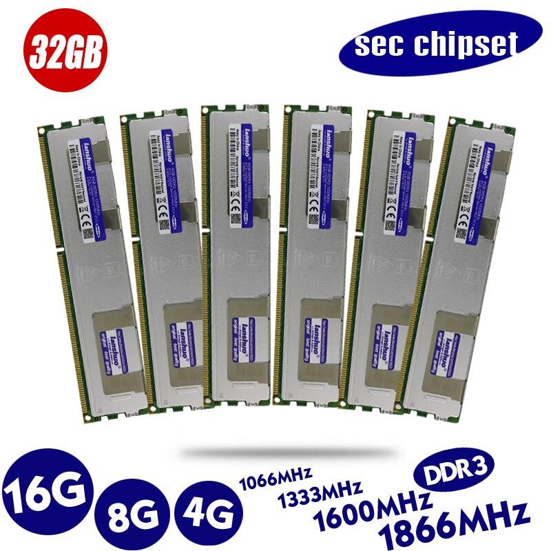 Original 4 GB DDR3 1333 MHz 1600 Mhz 1866 Mhz 4G 1333G 1600 1866 radiador REG ECC memoria de servidor 8G 16G 8 GB 16 GB RAM x79 x58 LGA 2011