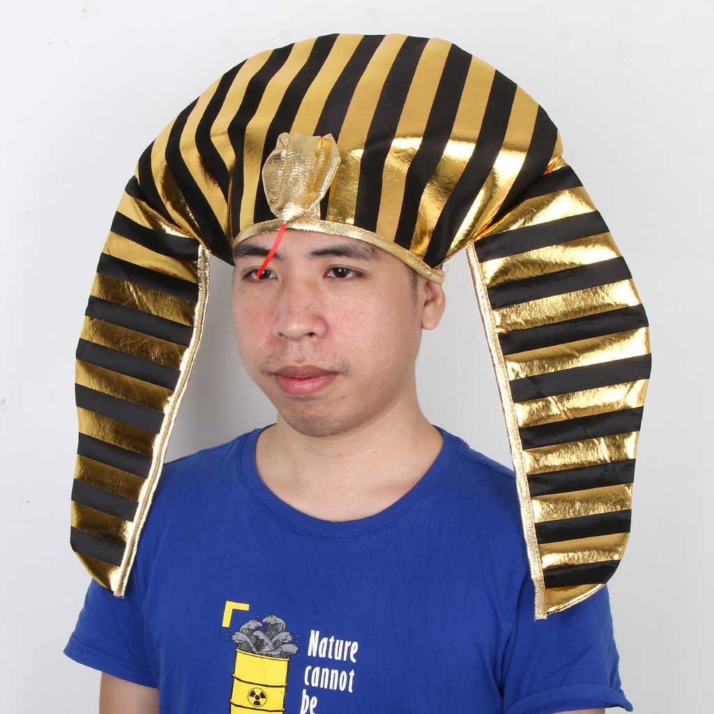 2019 ノベルティおかしい黄金黒エジプトエジプトのファラオ王帽子ヘビヘッドヴィンテージかぶと仮装コスプレプロップ