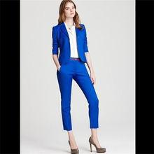 цена Navy blue pant suits suit blazer women 2 piece jacket blazer trouser set female pants office wedding blue women suits custom в интернет-магазинах
