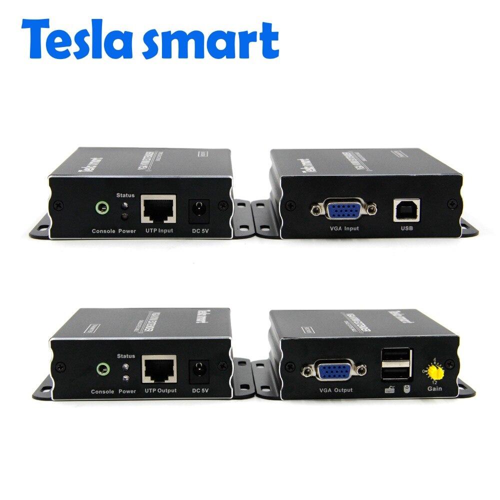 Tesla smart VGA KVM Extender di Alta Qualità 300 m USB VGA IR KVM Extender Da CAT5e/6 (un Extender TX + un Extender RX)