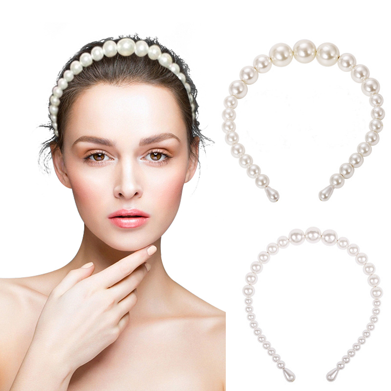 Elegant Ins Big Pearl Headband For Women 2019 Trendy Full Imitation Pearls Wide Hairband Hoop Bezel Turban   Headwear   Accessories