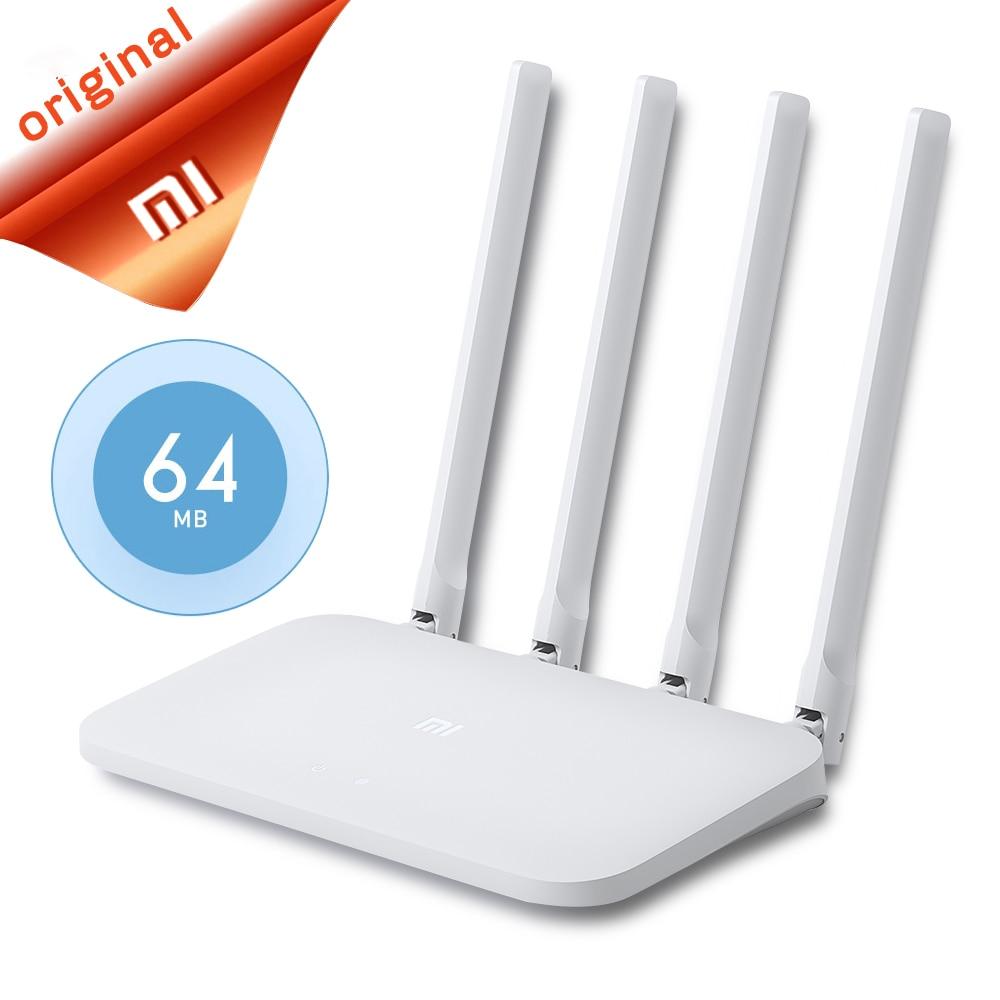 Original xiao mi wifi roteador 4c controle app 64 ram 802.11 b/g/n 2.4g 300 mbps 4 antenas roteadores sem fio repetidor