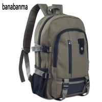 Banabanma Men S Multi Pockets Canvas Backpack Casual Travelling Bag High Capacity Satchel Schoolbag ZK30